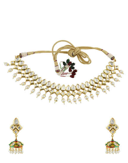 Unique Design Gold Finish Kundan Necklace Styled With Moti Kundan Necklace