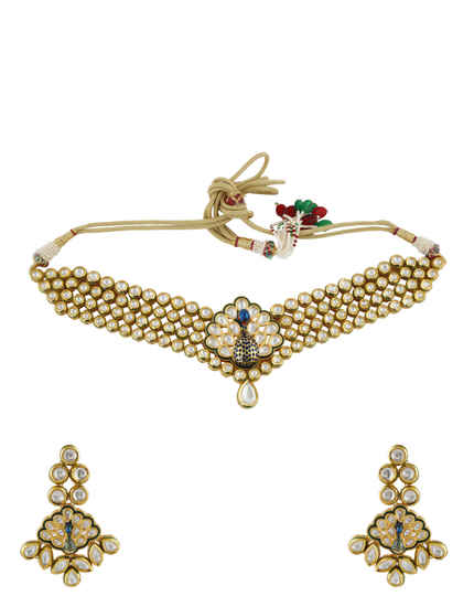 Gold Finish Peacock Design Chokar Kundan Necklace