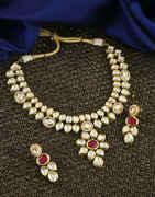 Rani Colour Gold Finish Kundan Necklace For Wedding Fancy