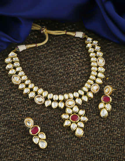 Rani Colour Gold Finish Kundan Necklace For Wedding Fancy