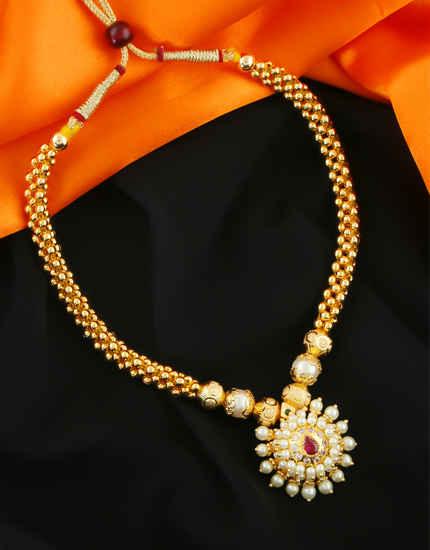 Fancy Gold Finish Moti Styled Thushi Necklace For Women