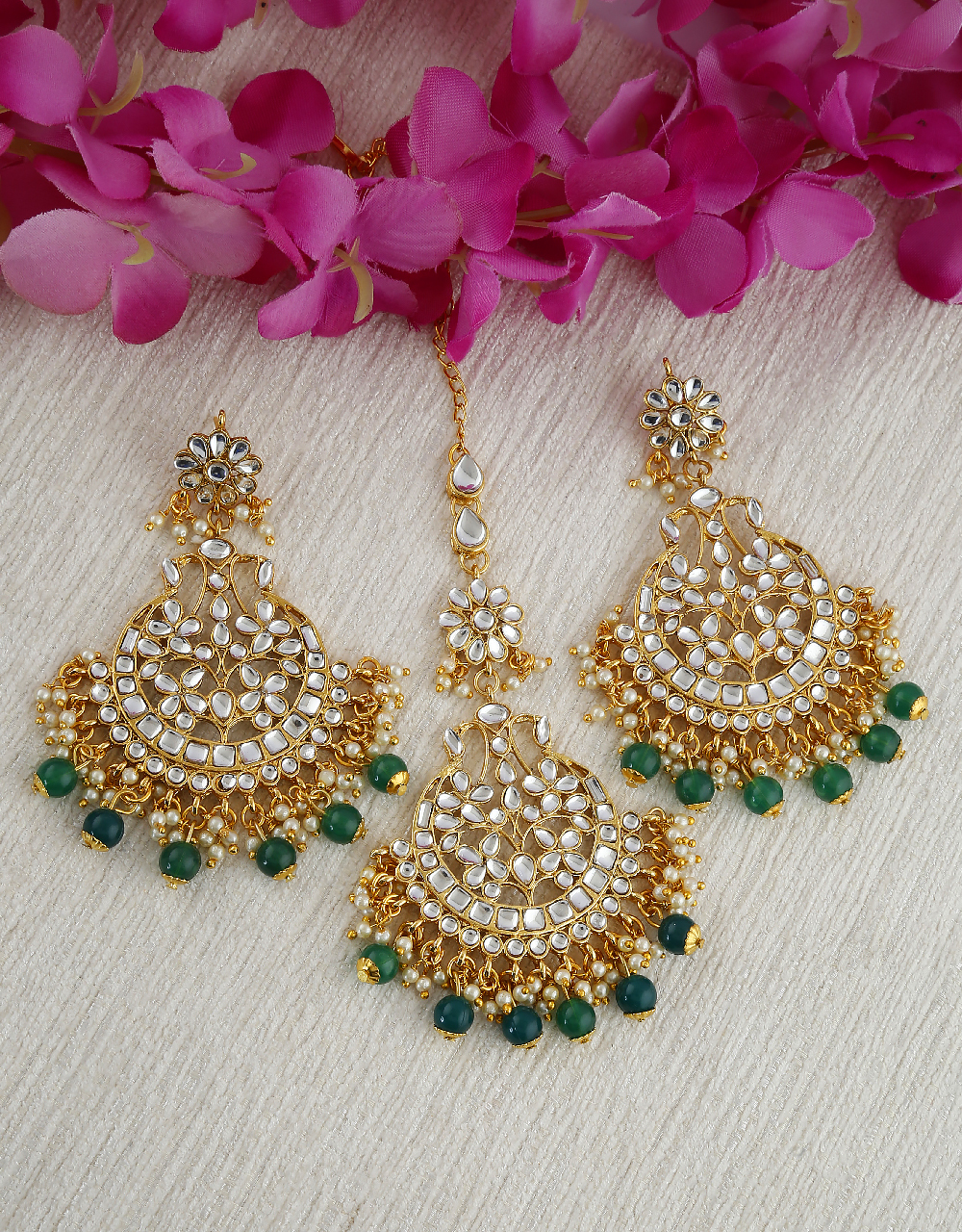 Green Colour Gold Finish Styled With Beads Chandbali Earring With Mang Tika