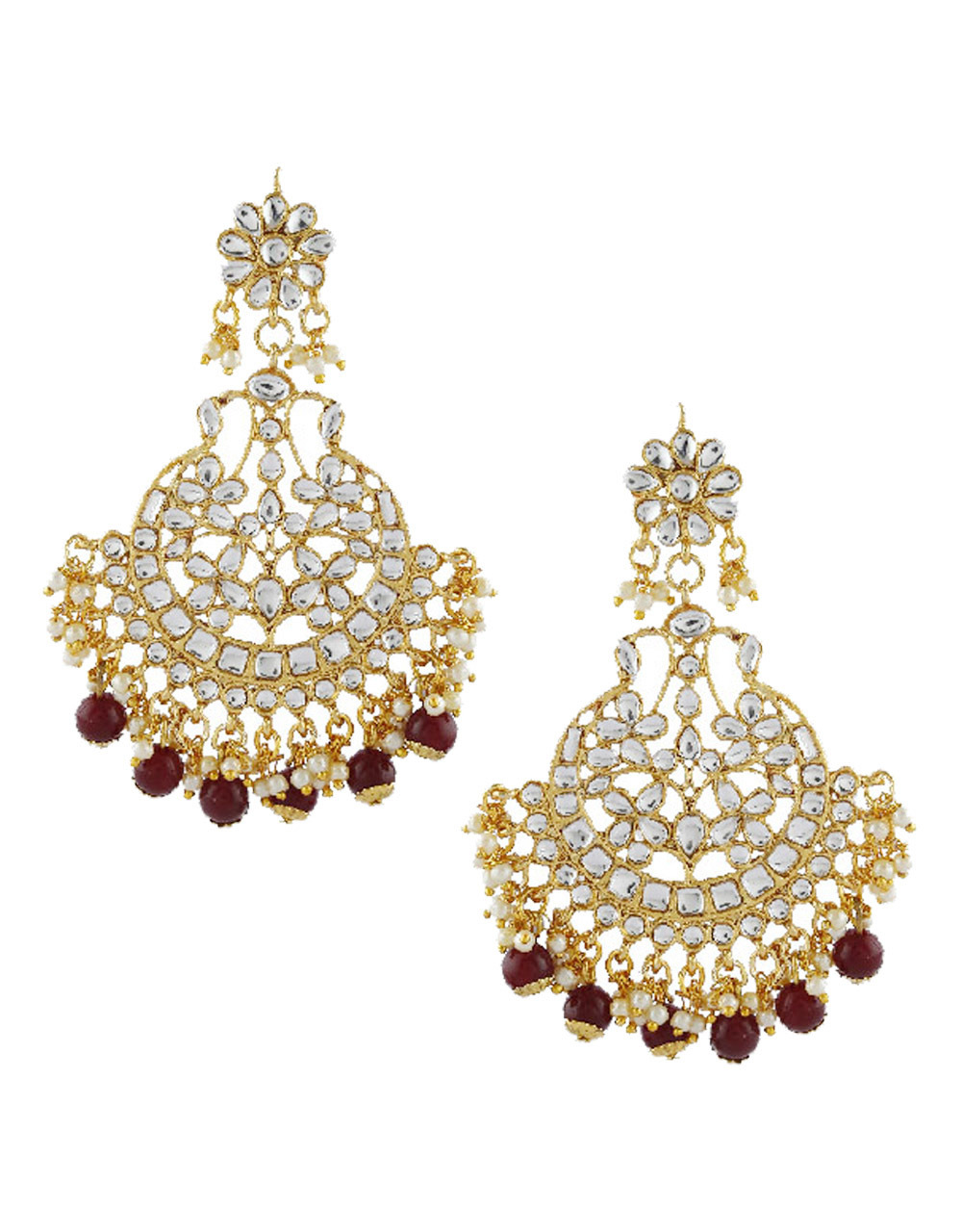 Maroon Colour Fancy Gold Finish Designer Stunning Earring Traditional