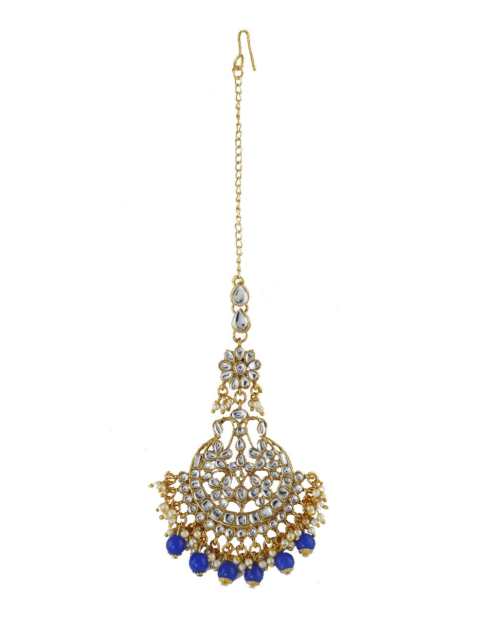 Blue Colour Gold Finish Studded With Stones Fancy Dangles Earrings