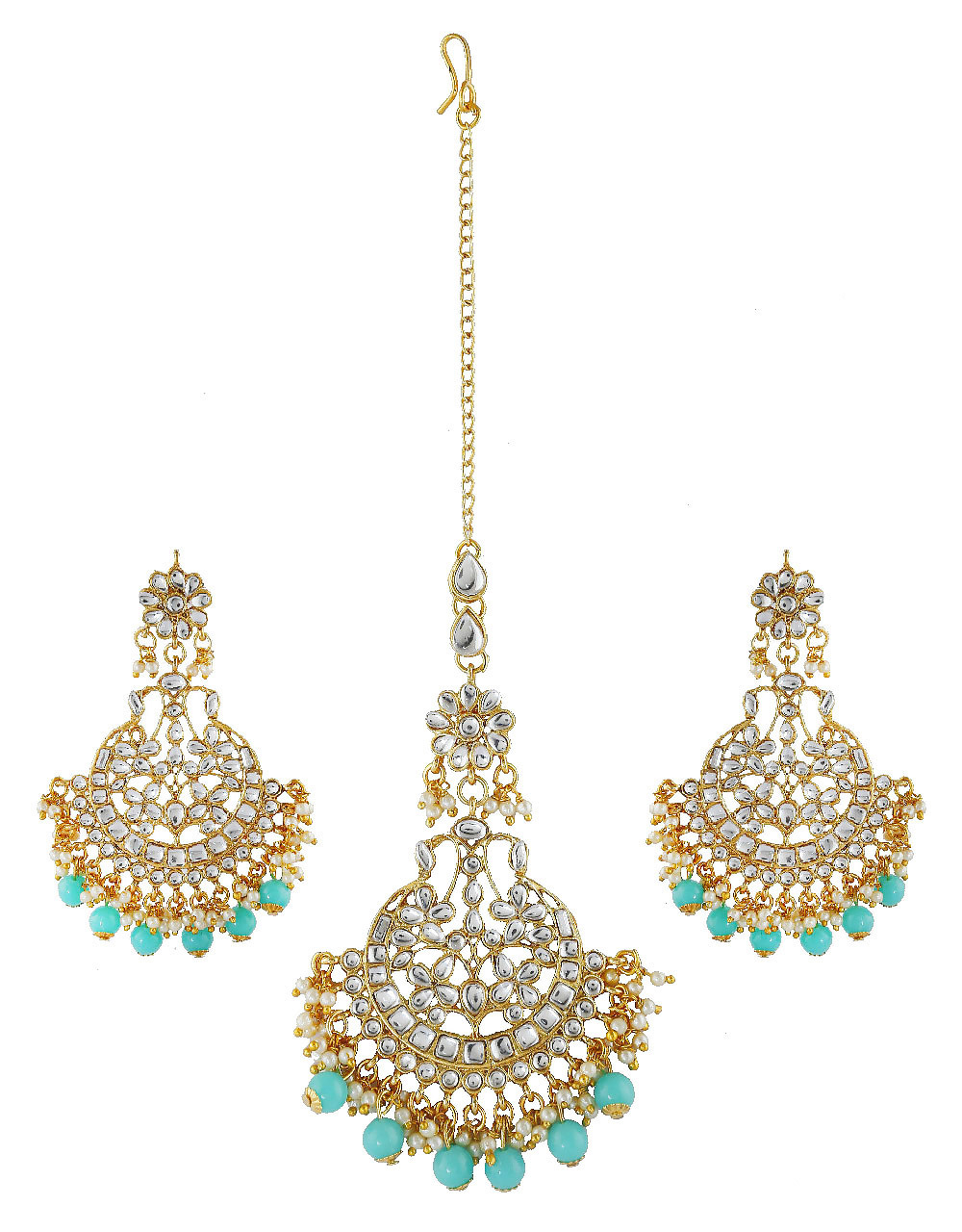 Turquiose Colour Gold Finish Styled With Beads Fancy Earring