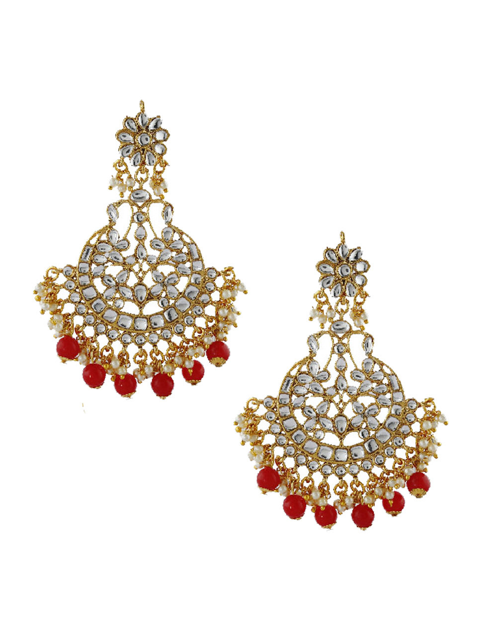 Red Colour Gold Finish Styled With Beads Fancy Earrings