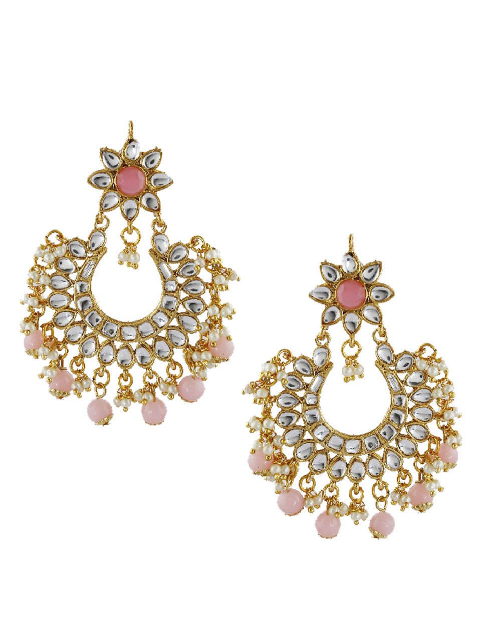 Simple Pink Colour Gold Finish Studded With White Stones Chandbali Earrings