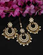 White Colour Gold Finish Floral Design Chandbali Moti Earrings