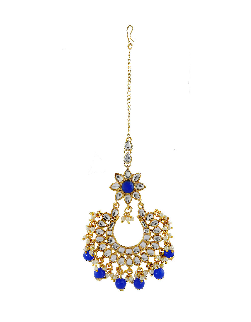 Blue Colour Gold Finish Studded With Stones Fancy Earring For Girls