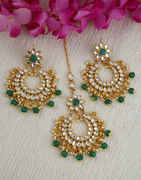 Green Colour Fancy Gold Finish Stunning Traditional Earrings