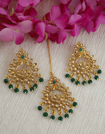Green Colour Gold Finish Fashionable Designer Simple Chandbali Earrings