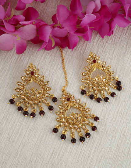 Maroon Colour Gold Finish Styled With Beads Fancy Earrings For Girls