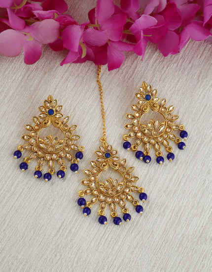 Blue Colour Simple Gold Finish Combo Traditional Earrings