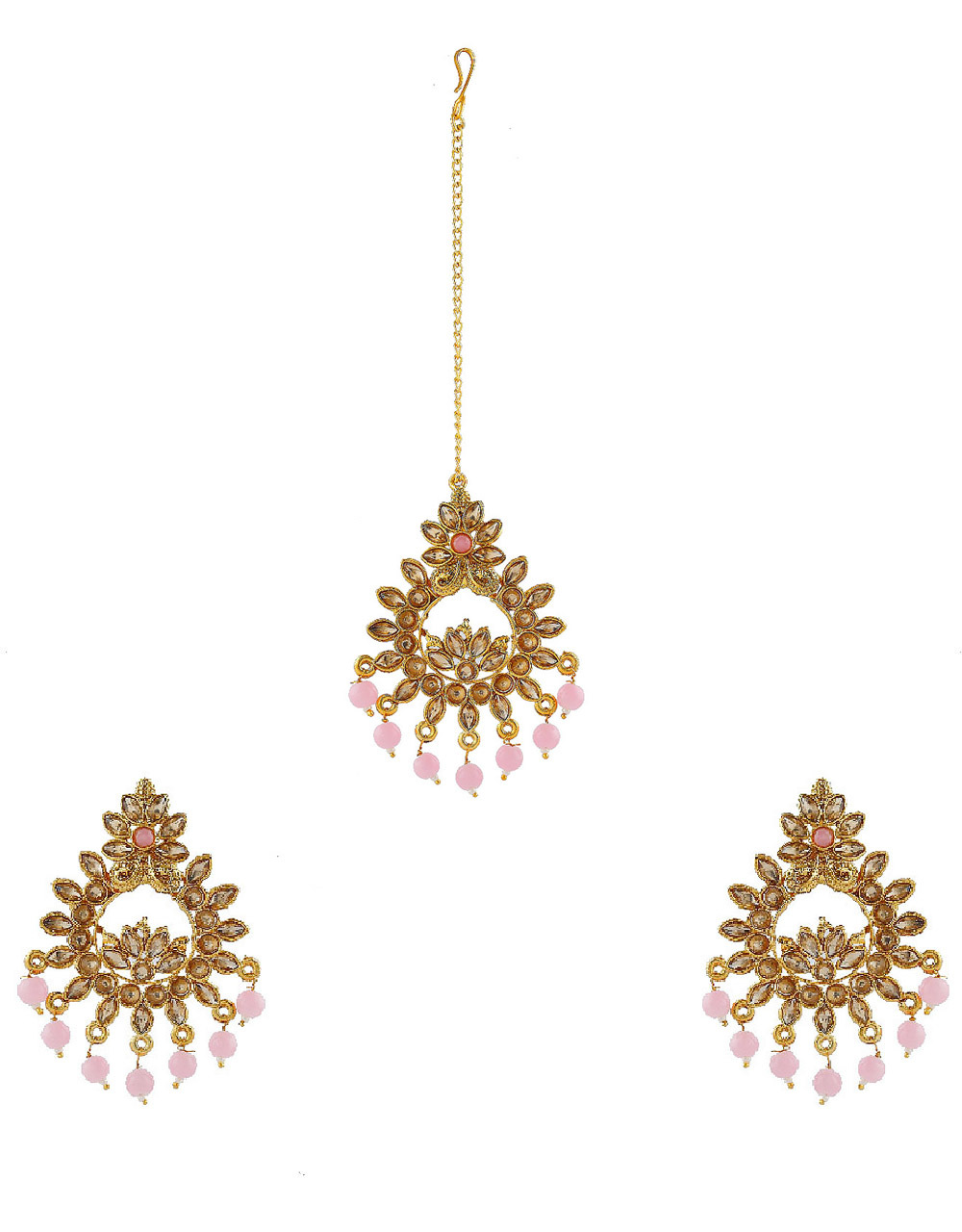 Pink Colour Gold Finish Simple Wedding Earrings For Girls