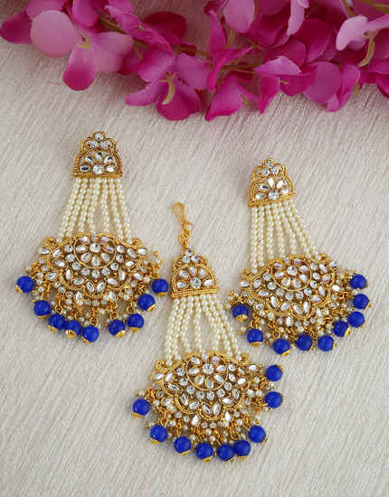 Blue Colour Gold Finish Styled With Moti Fancy Earing