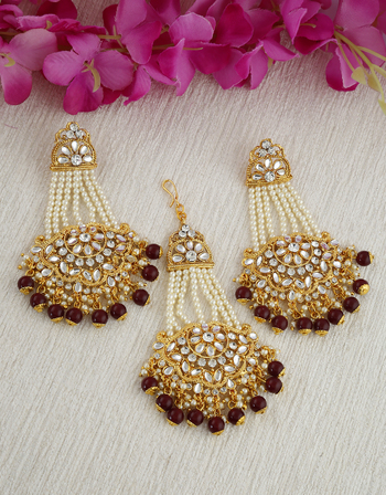 Brown Colour Gold Finish Fashionable Earrings For Girls