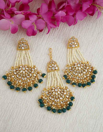 Fashionable Green Colour Gold Finish Designer Earrings