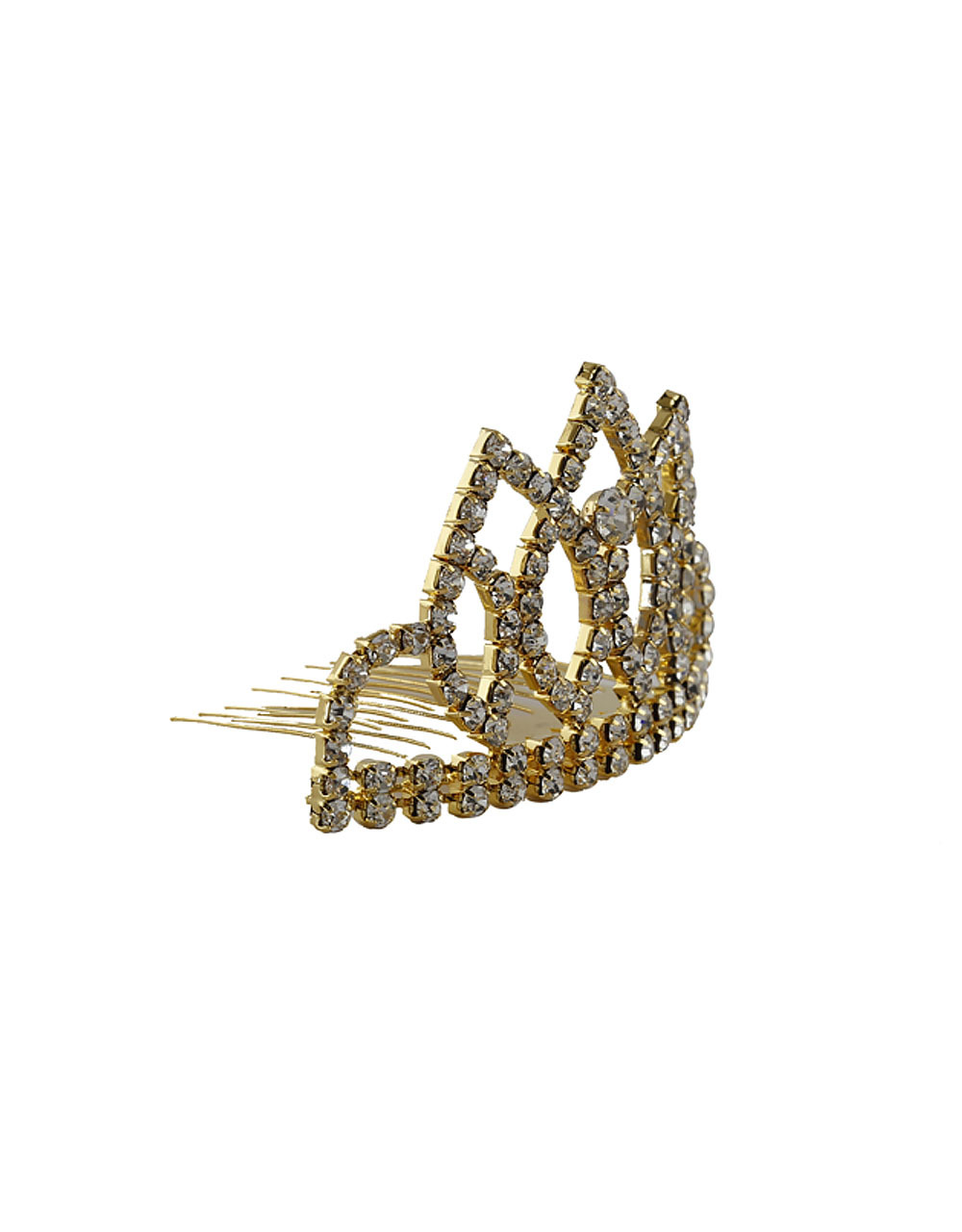 Gold Finish Studded With Stones Hair Jewellery Crown