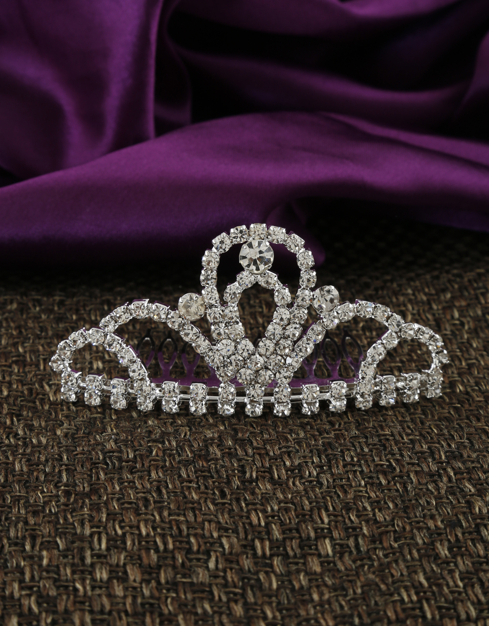 Silver Finish Fancy Stunning Hair Crown For Girls