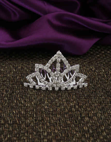 Fancy Silver Finish Simple Hair Crown/Tiara