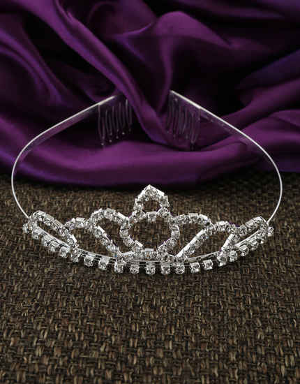 Silver Finish Stylish Hair Crown Designer For Girls