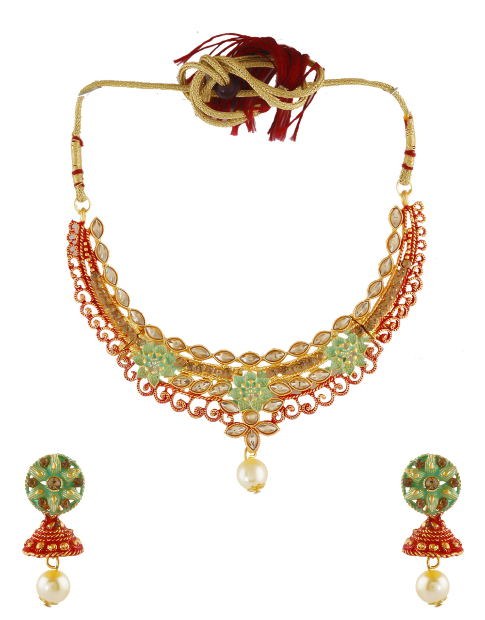 Red Colour Fancy Gold Finish Traditional Necklace Fancy For Women