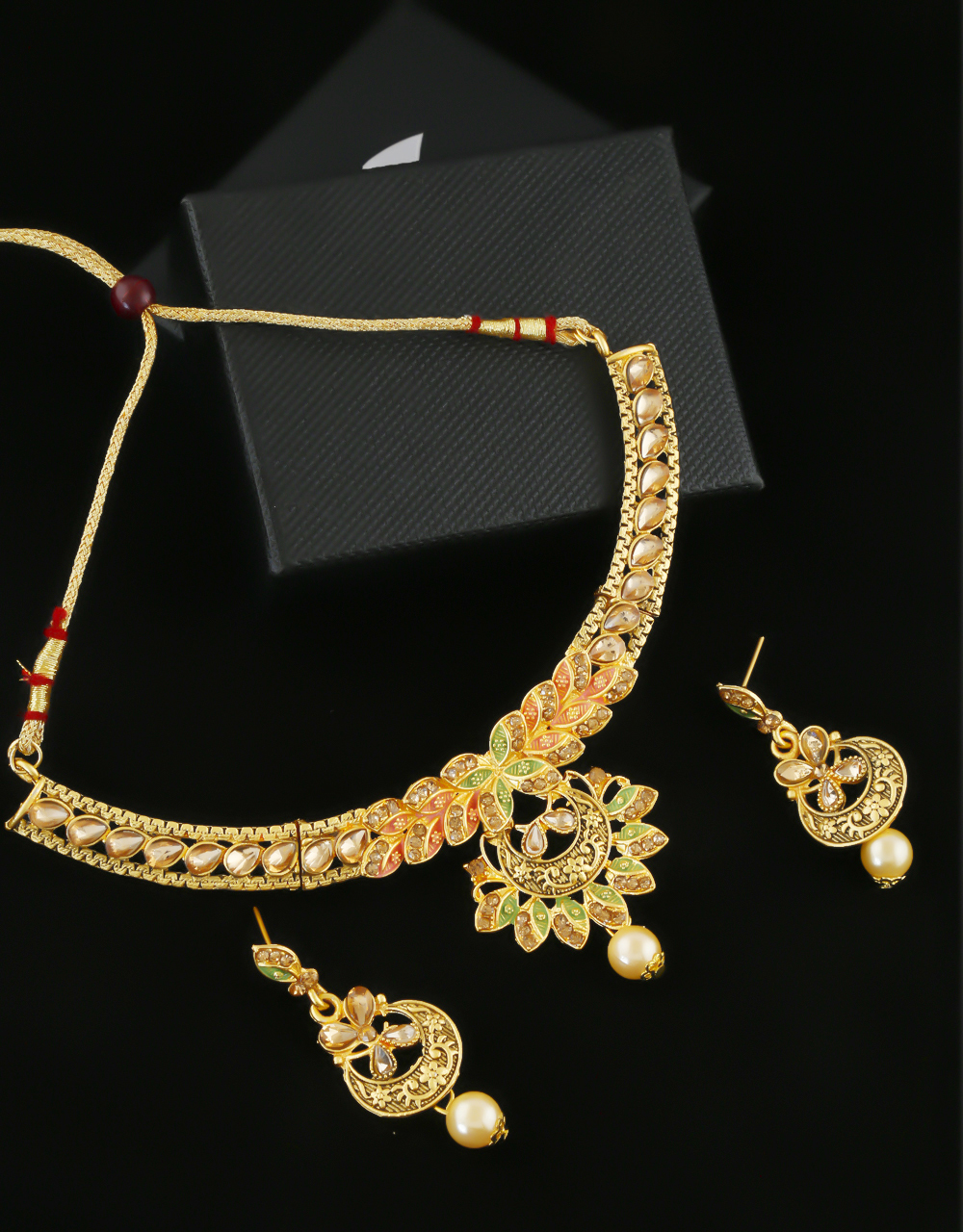 Floral Design Matte Gold Finish Traditional Necklace
