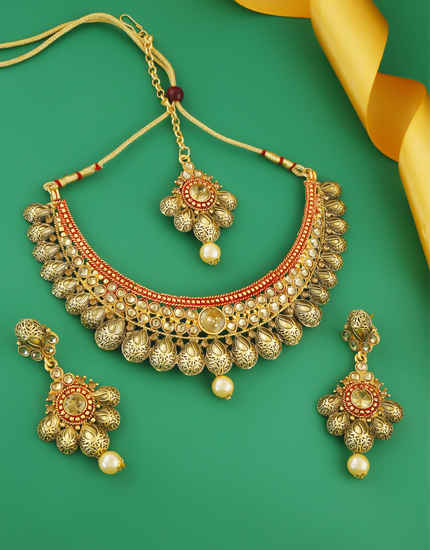 Red Colour Gold Finish Traditional Fancy Necklace For Women