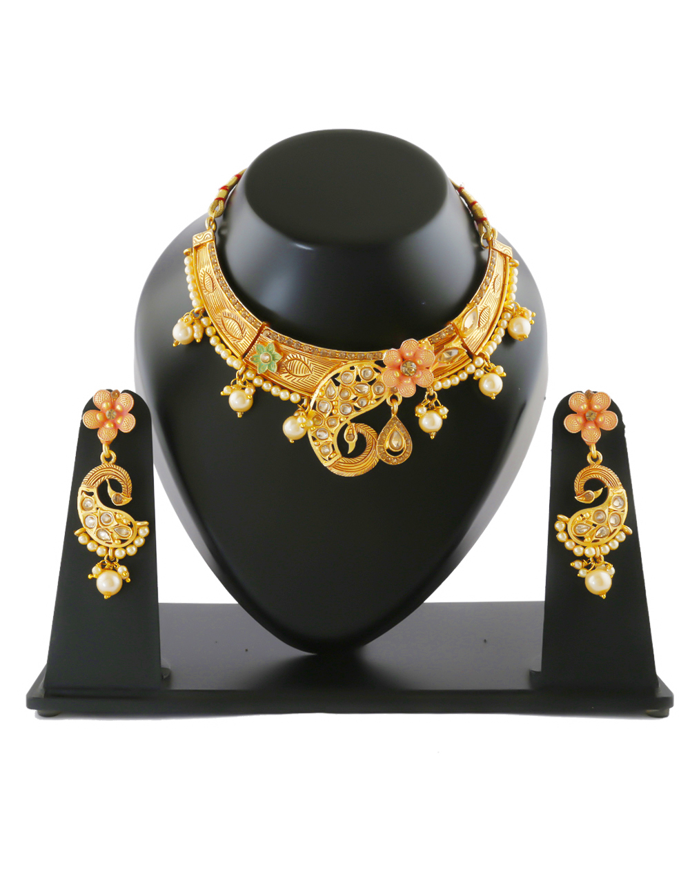South Matte Finish Traditional Gold Finish Fancy Necklace