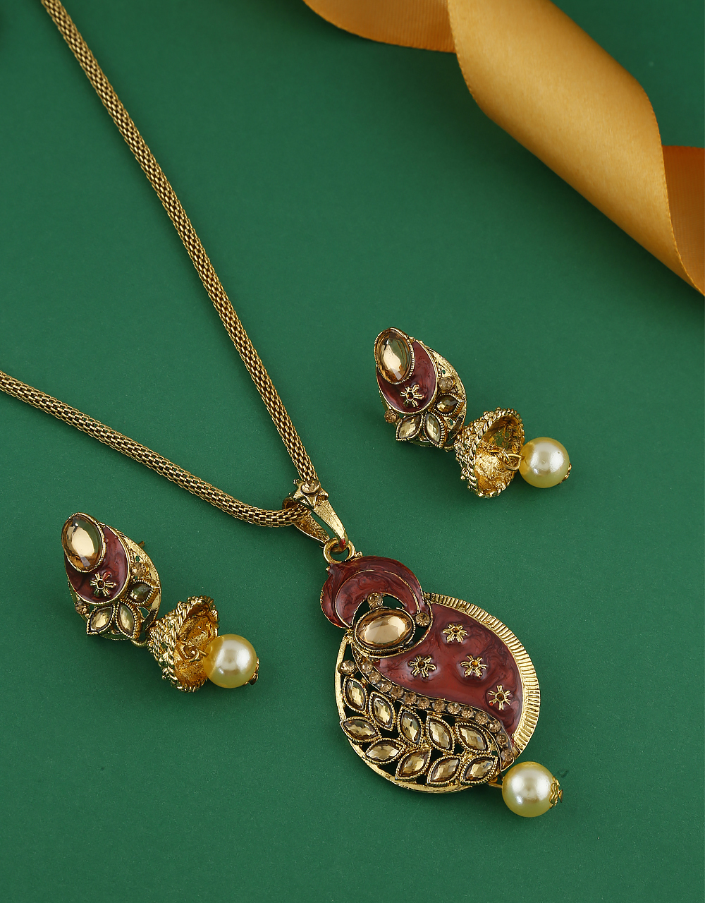 Red Colour Gold Finish Fancy Traditional Pendant Set For Girls