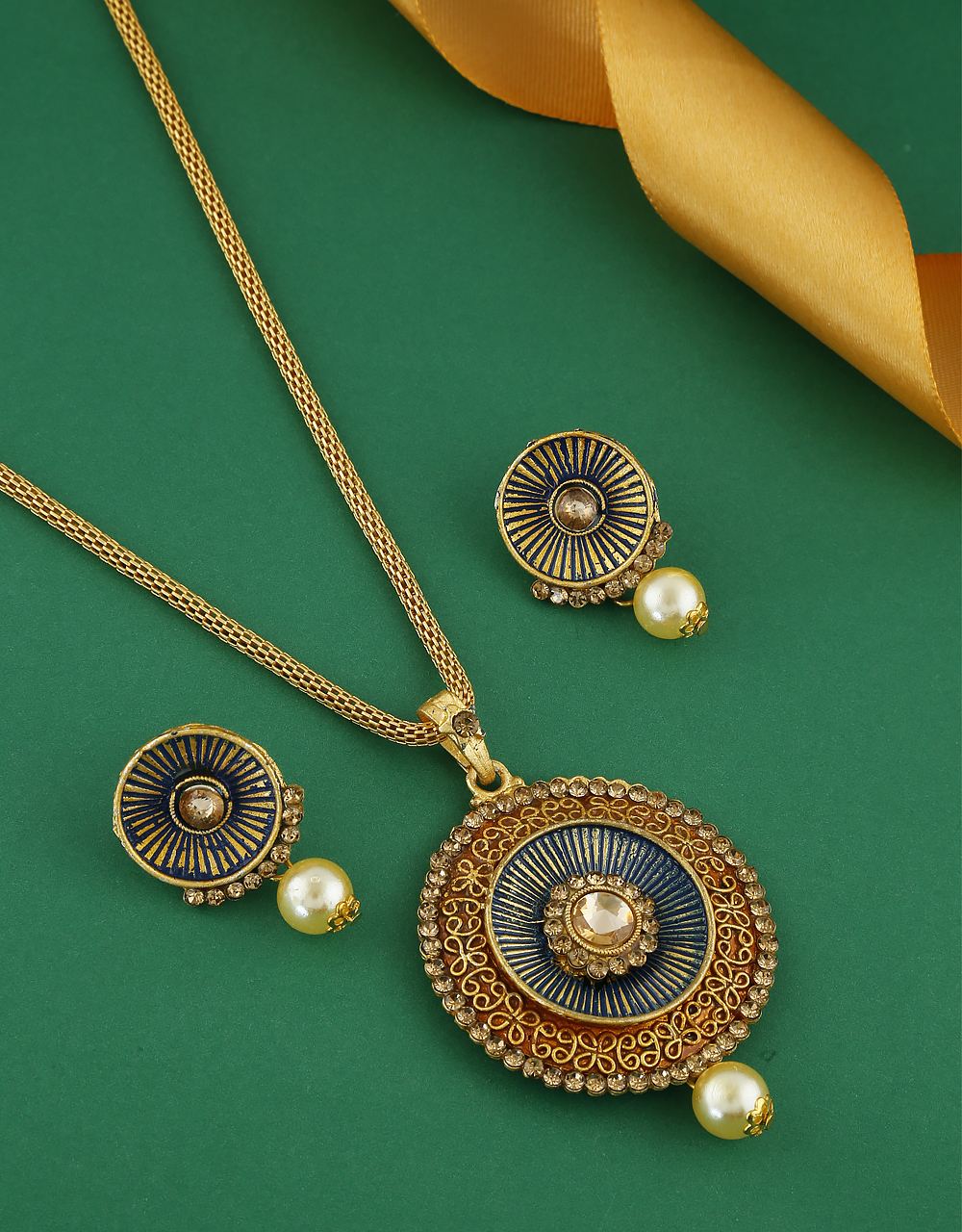 Navy Blue Colour Gold Finish Fancy Traditional Pendant Set