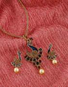 Multi Colour Antique Gold Finish Peacock Design Fancy Pendant Set