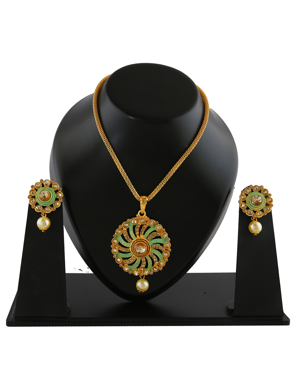 Green Colour Gold Finish Stunning Pendant Set For Girls Fancy Wear