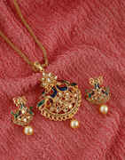 Designer Gold Finish Peacock Design Traditional Necklace Pendant Set