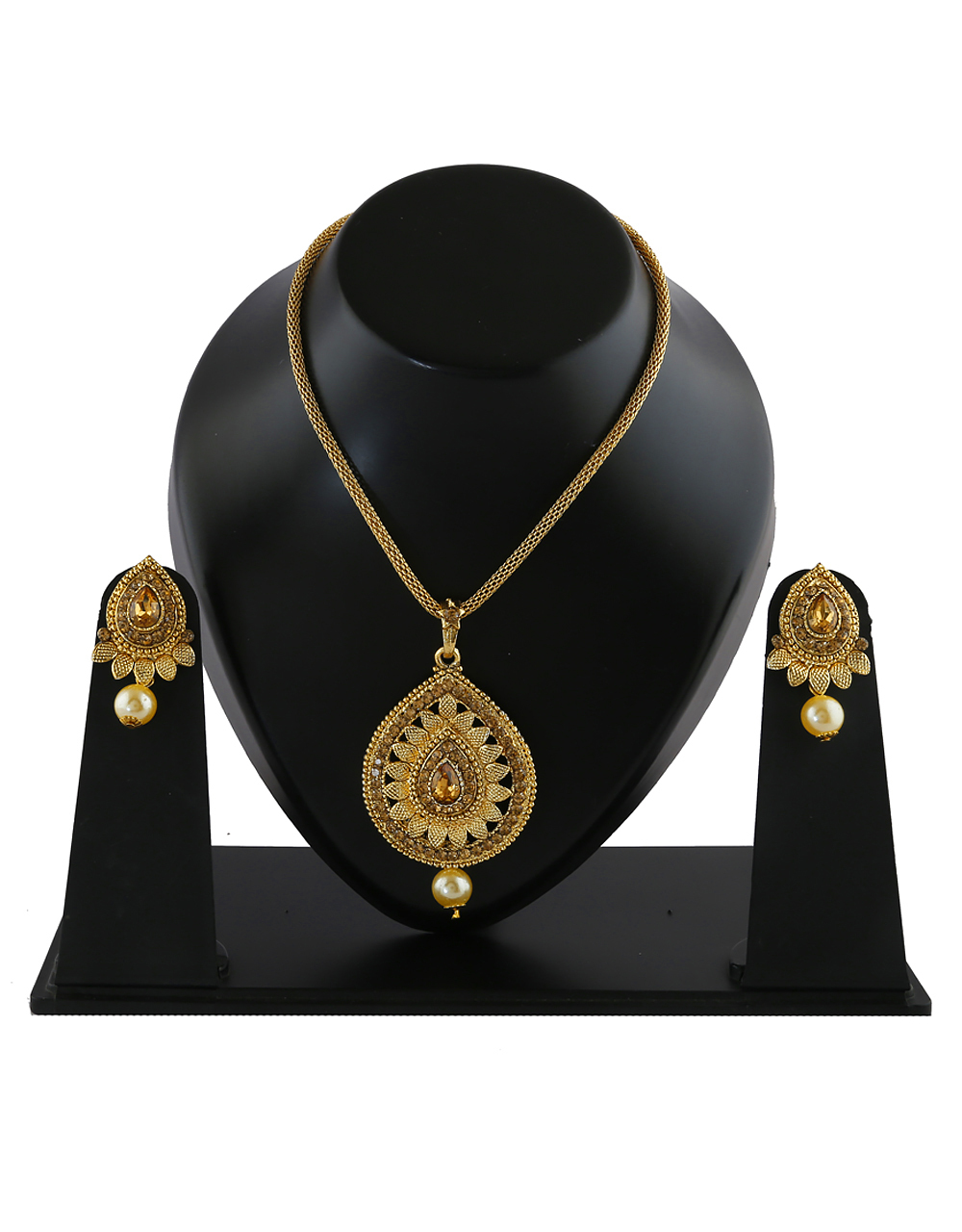 Fancy Gold Finish Stunning Traditional Pendant Set For Girls