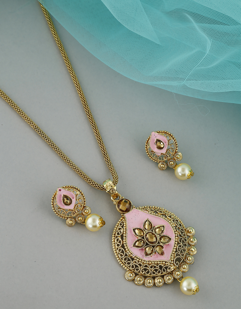 Pink Colour Antique Gold Finish Stunning Necklace