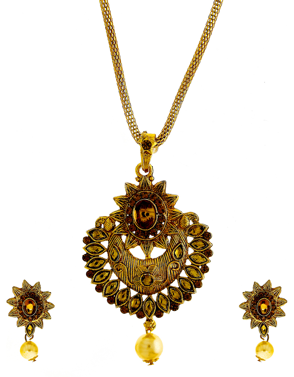 Floral Design Gold Finish Stunning Traditional Pendant Set
