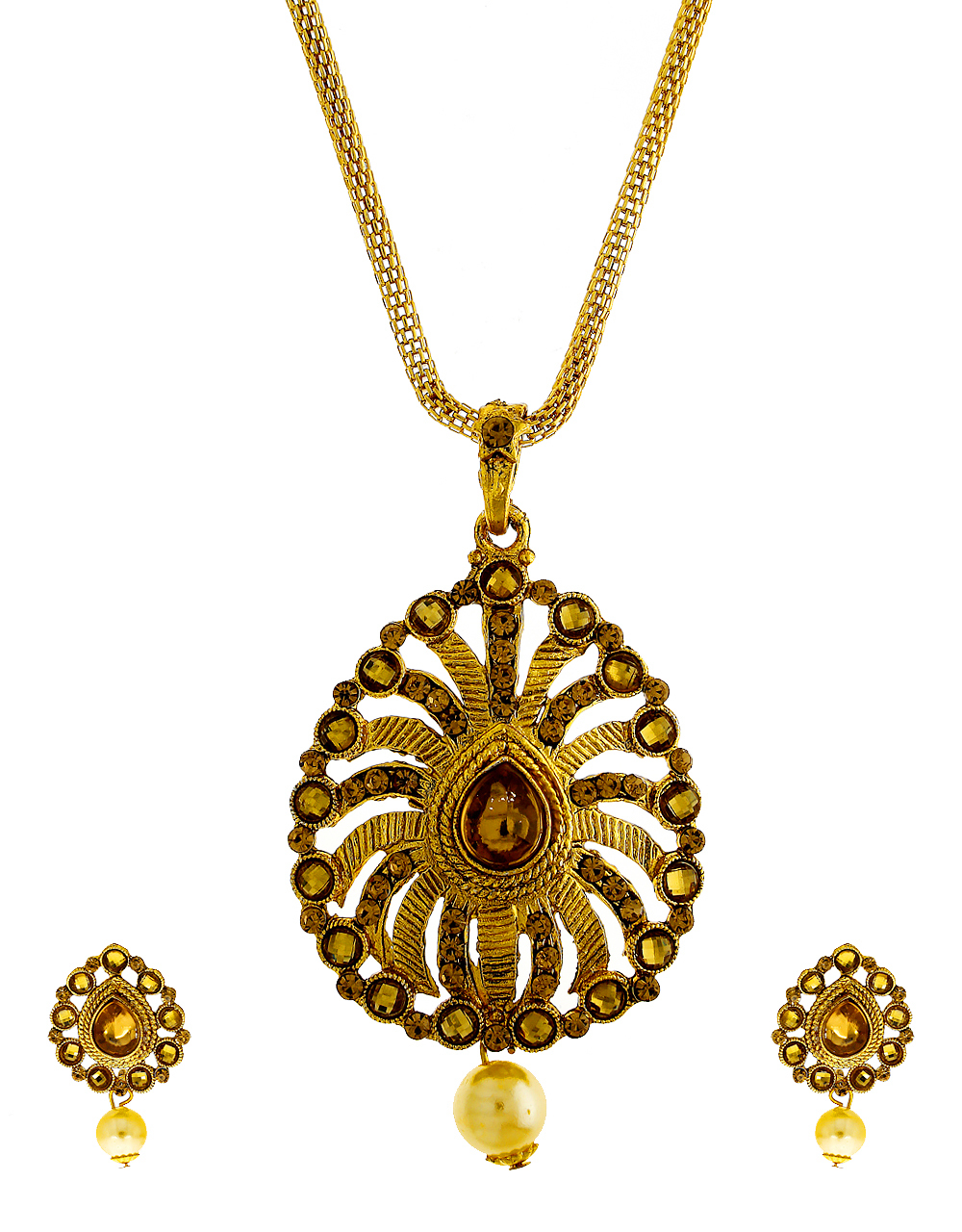Adorable Gold Finish Stunning Fancy Pendant Set For Women