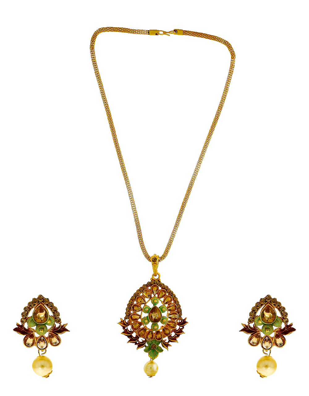 Green Colour Antique Gold Finish Stunning Fancy Wear Pendant Set