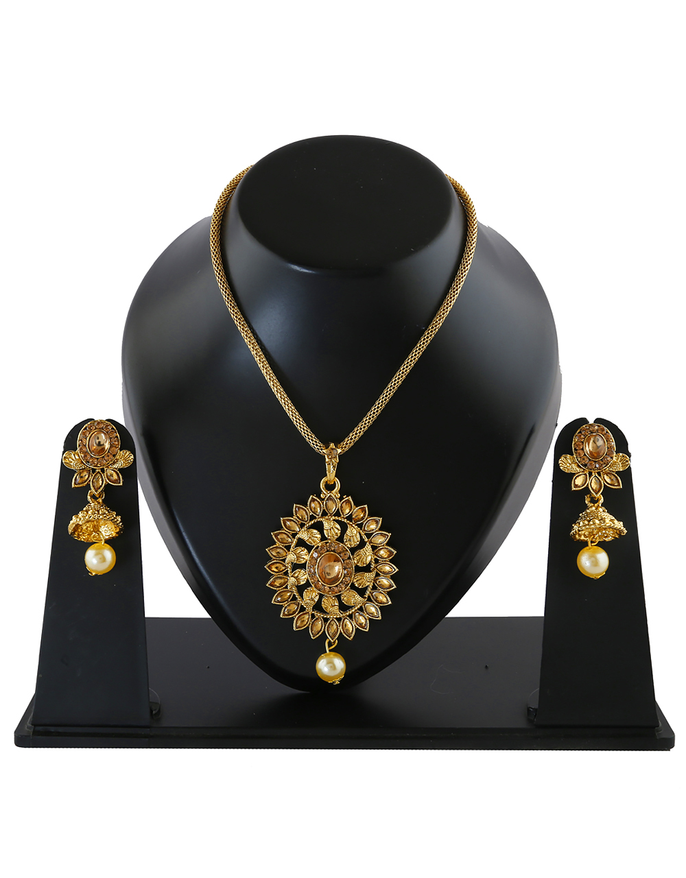 Gold Finish Studded With Stones Chain Pendant Set For Girls
