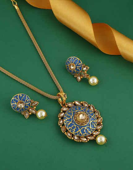 Blue Colour Gold Finish Stunning Traditional Pendant Set