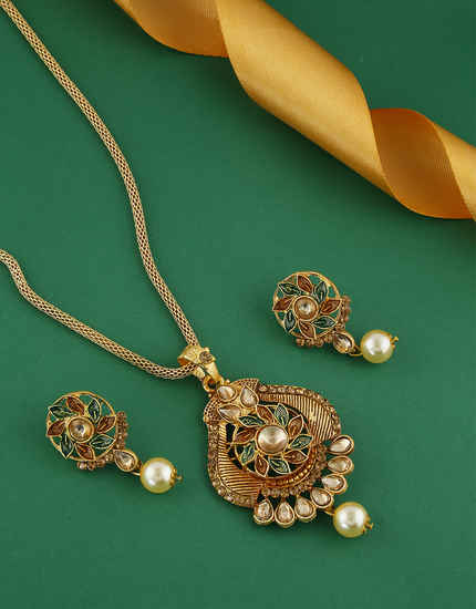 Antique Gold Finish Multi Colour Pendant Set For Women