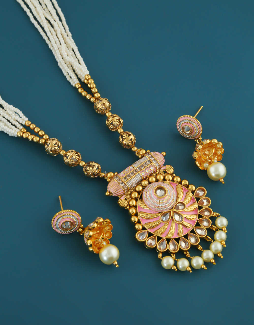 Pink Colour Gold Finish Pearls Styled Traditional Pendant Set For Girls