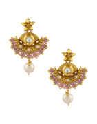 Designer Gold Finish Pink Colour Kundan Pendant Set For Wedding