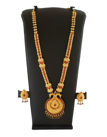 Red Colour Matte Gold Finish Traditional Long Necklace For Women