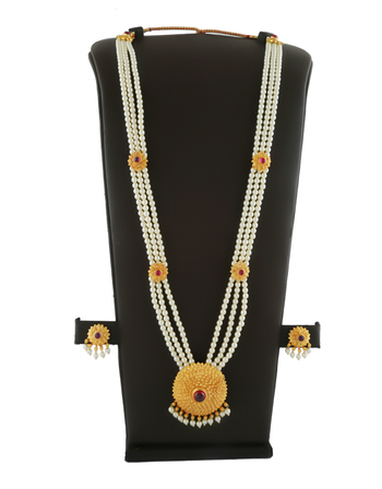 Designer Gold Finish Styled With Moti Beads Moti Jewellery Necklace