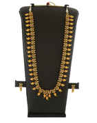 Green Colour Gold Finish Necklace Studded With Diamond Fancy Long Necklace