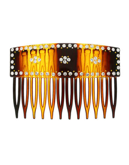 Brown Colour Studded With Stones Hair Comb Pin