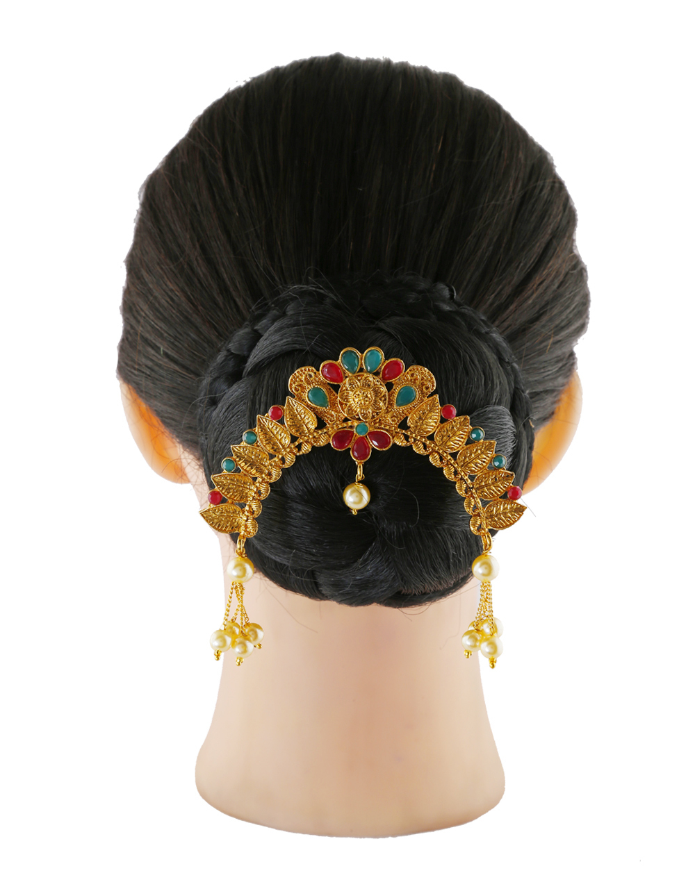 Multi Colour South Matte Finish Traditional Hair Brooch