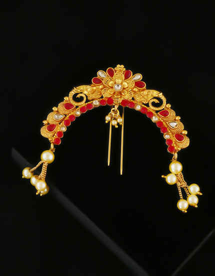 Red Colour Floral Design Hair Brooch For Women Fancy